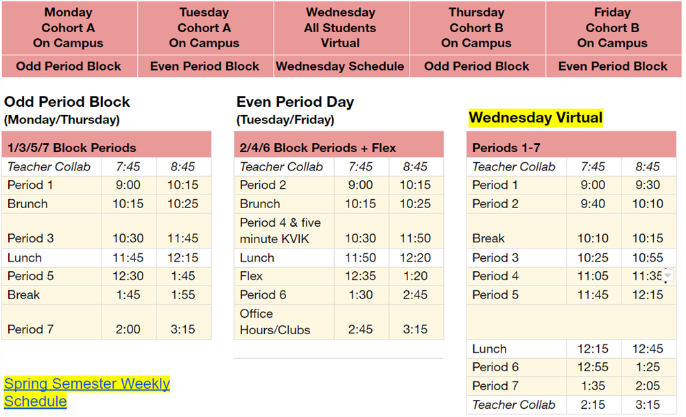 Instructional Schedule View 1
